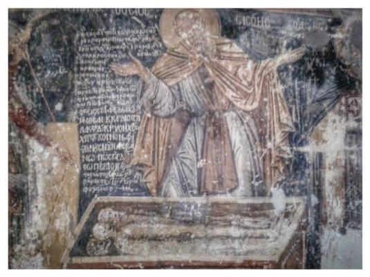 τοιχογραφία: ο όσιος Σισώης θρηνεί μπροστά στον τάφο του Μεγάλου Αλεξάνδρου